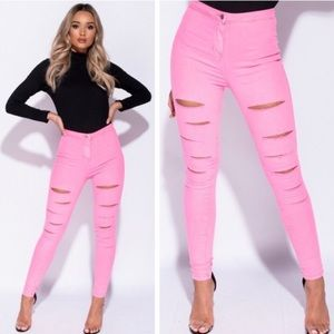 Neon Pink Multi Slash Jeggings
